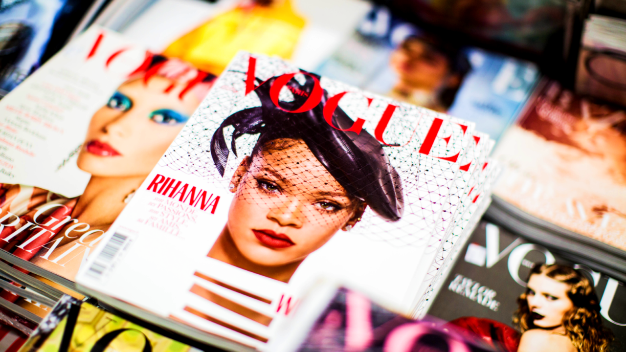Vogue Rihanna magazine beside magazines