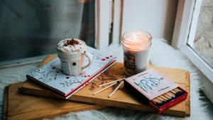 White ceramic mug on brown tray